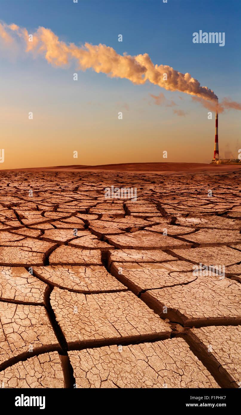 Industrielle Zerstörung, globale Erwärmung Konzept Stockbild