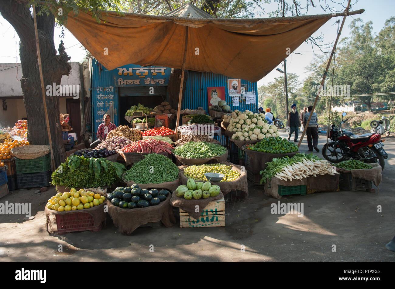 Amritsar, Punjab, Indien. am Straßenrand Marktstand verkaufen Obst ...