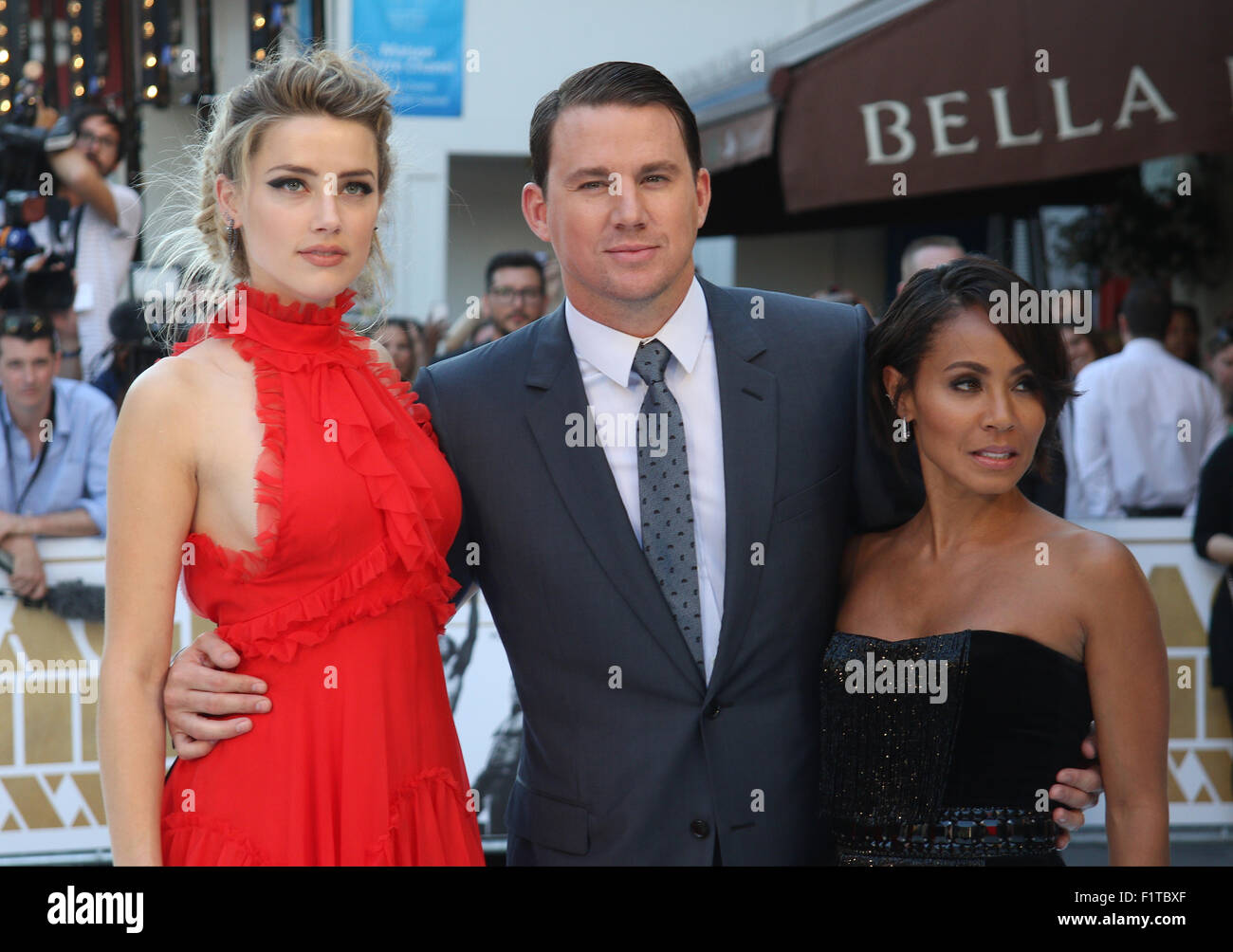 LONDON, UK, 30. Juni 2015: Amber Heard, Channing Tatum und Jada Pinkett Smith besuchen den Magic Mike: XXL - britischen Stockbild