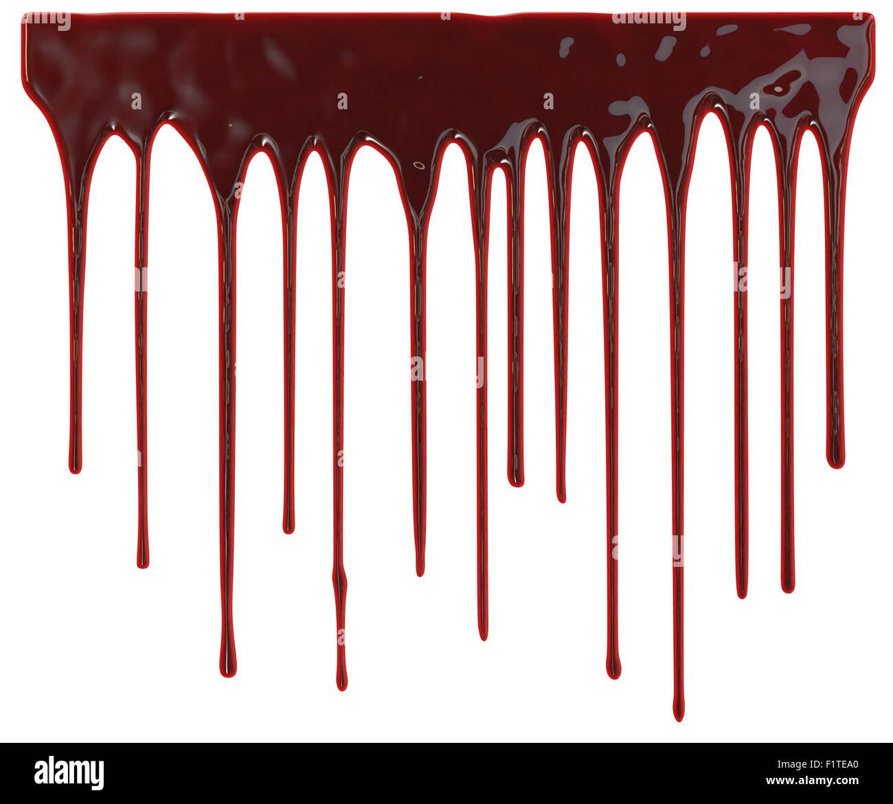 Blut tropfte auf weißem Hintergrund Stockfoto