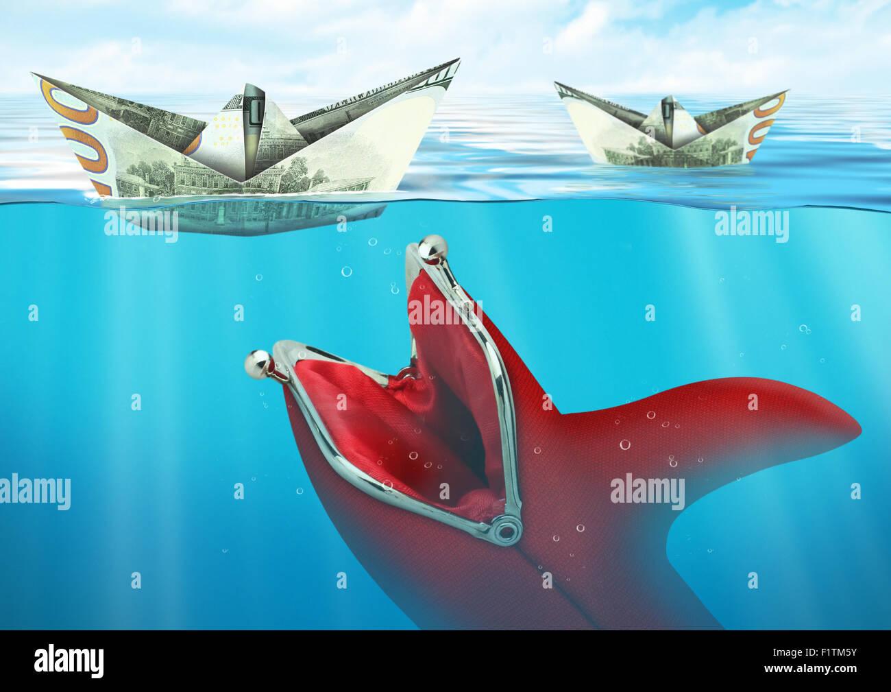 Kreative Finanzierung Konzept fängt Brieftasche Schiffe banknote Stockbild