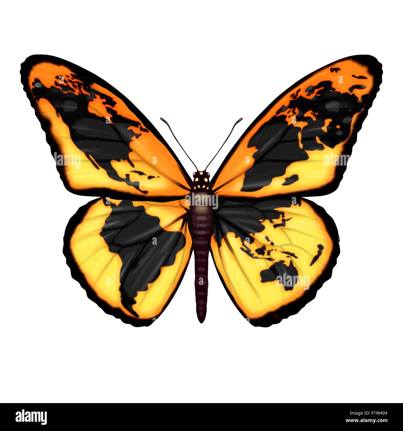 Globale Schmetterling-Symbol für die Umwelt oder Migrant Flüchtlingskrise Flucht in die Freiheit aus Krisengebieten Stockbild