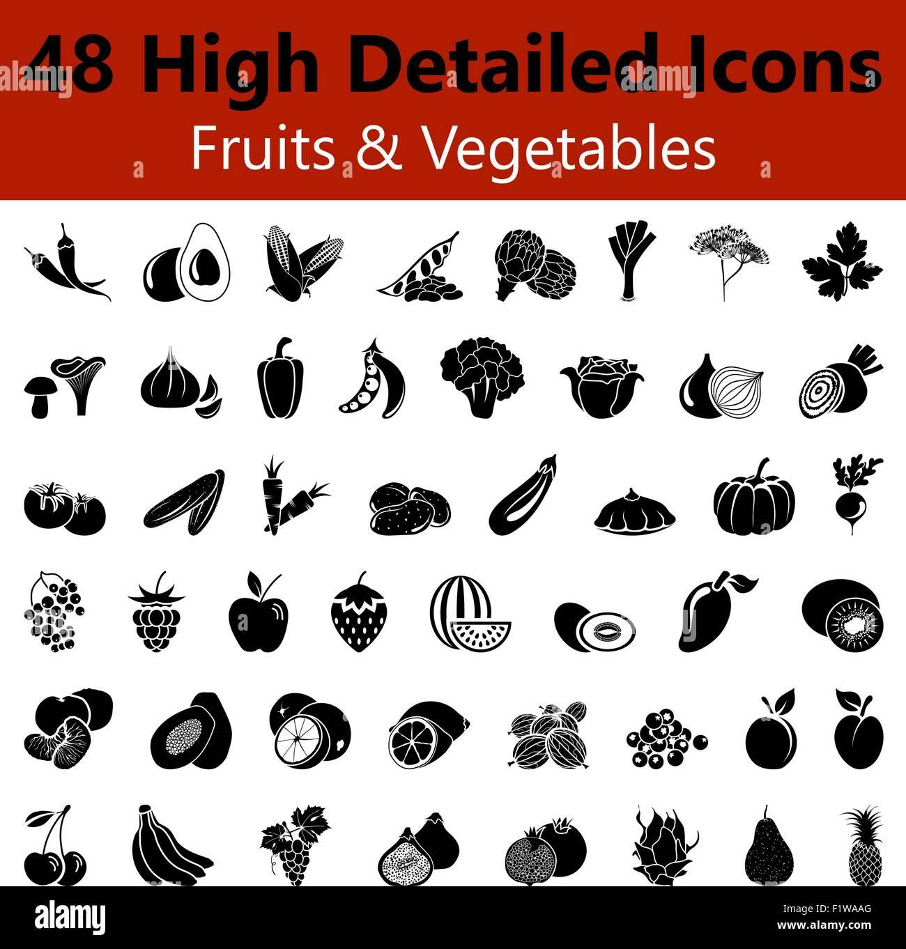 Satz von hoch detaillierte Früchte und Gemüse glatt Symbole in ...