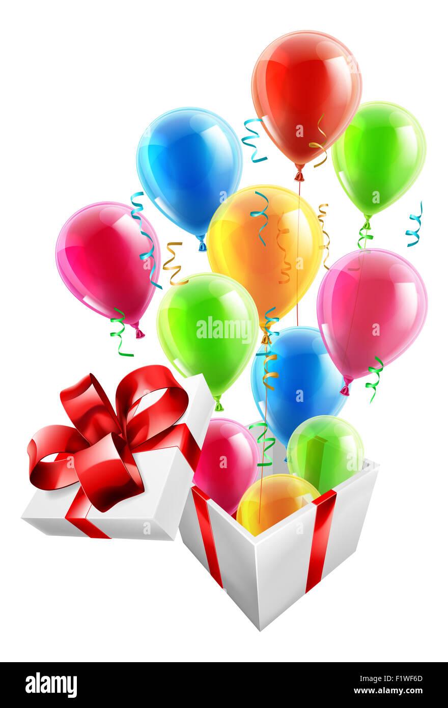 Geschenkbox Mit Party Ballons Und Luftschlangen Konzept Fur Einen