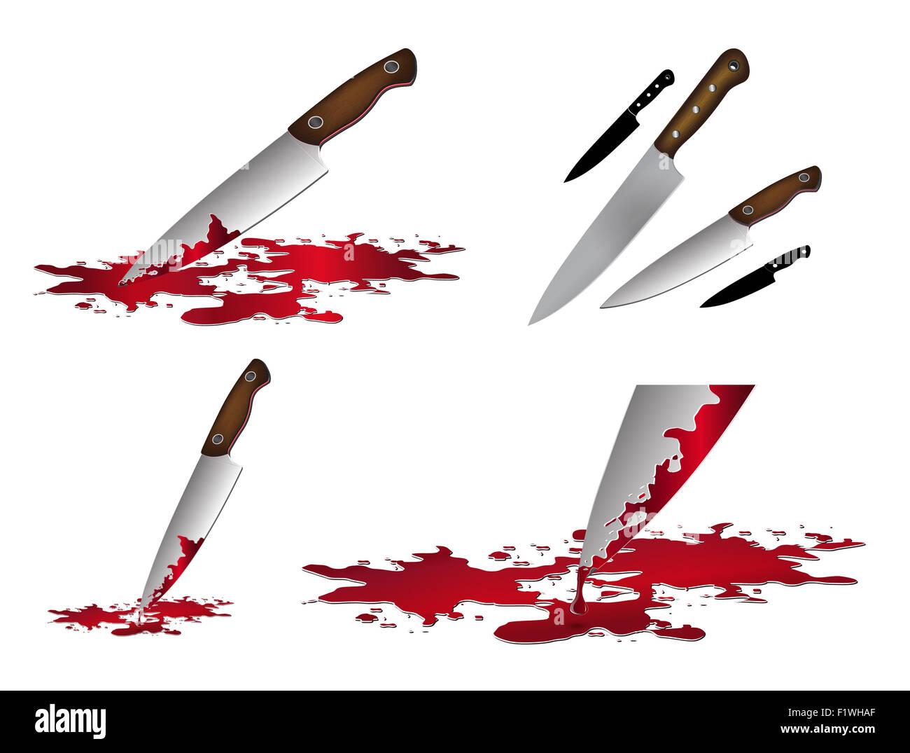 Realistische blutiges Messer. Messer mit Blut-Vektor-Illustration ...