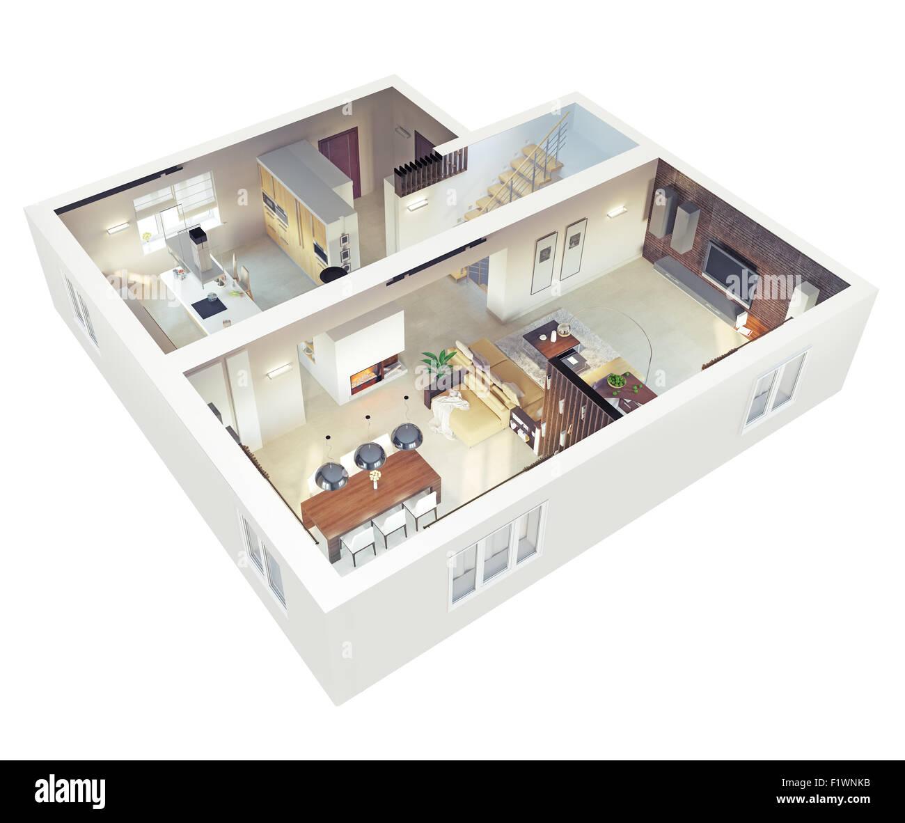 Grundriss einer Wohnung. Im Erdgeschoss befindet. Klares 21d ...