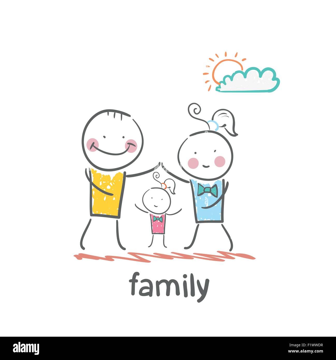 Familie Lustige Cartoon Stil Abbildung Die Situation Des Lebens