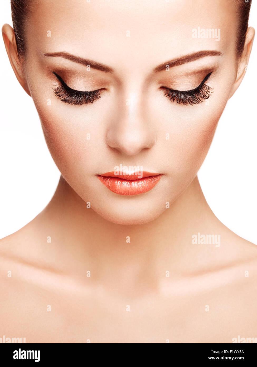 Schöne Frau Gesicht Perfektes Make Up Schönheit Mode Stockfoto