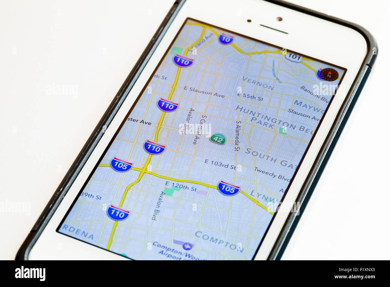 Google Maps auf dem iPhone Bildschirm - USA Stockfoto, Bild ...