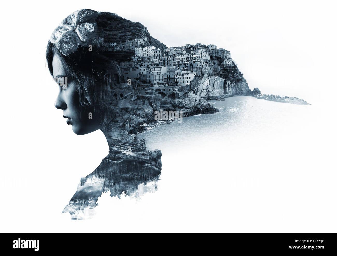 Doppelbelichtung Porträt einer Frau und Ansicht von Manarola Stockbild