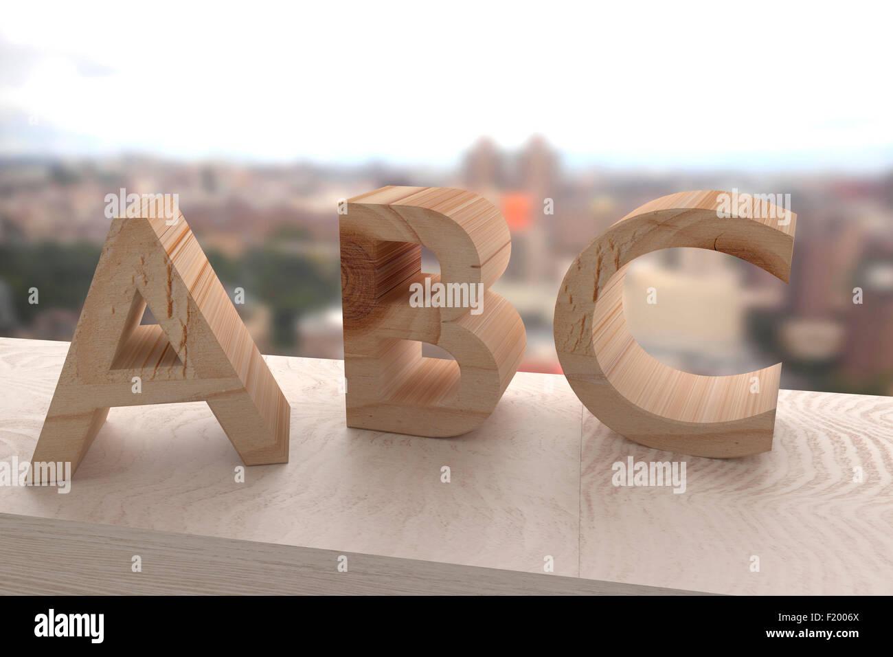 3D-Rendering einer Holzbuchstaben abc Stockbild