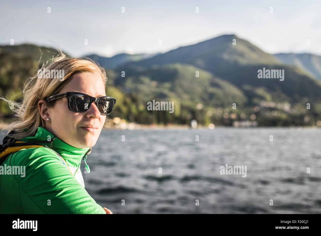 Porträt der jungen Frau, Comer See, Italien Stockbild