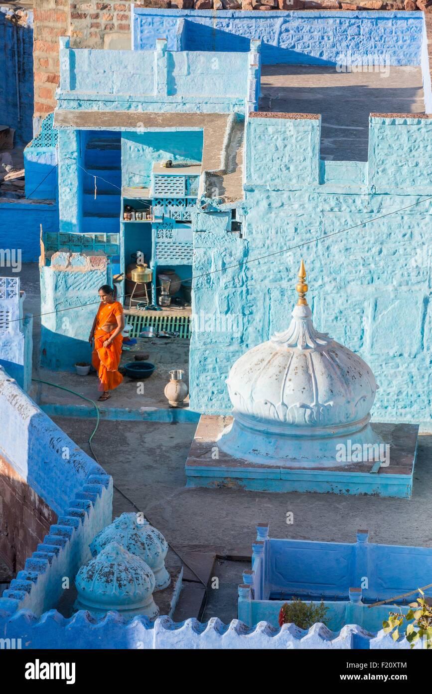 Indien, Rajasthan Zustand, Jodhpur, die blaue Stadt Stockbild