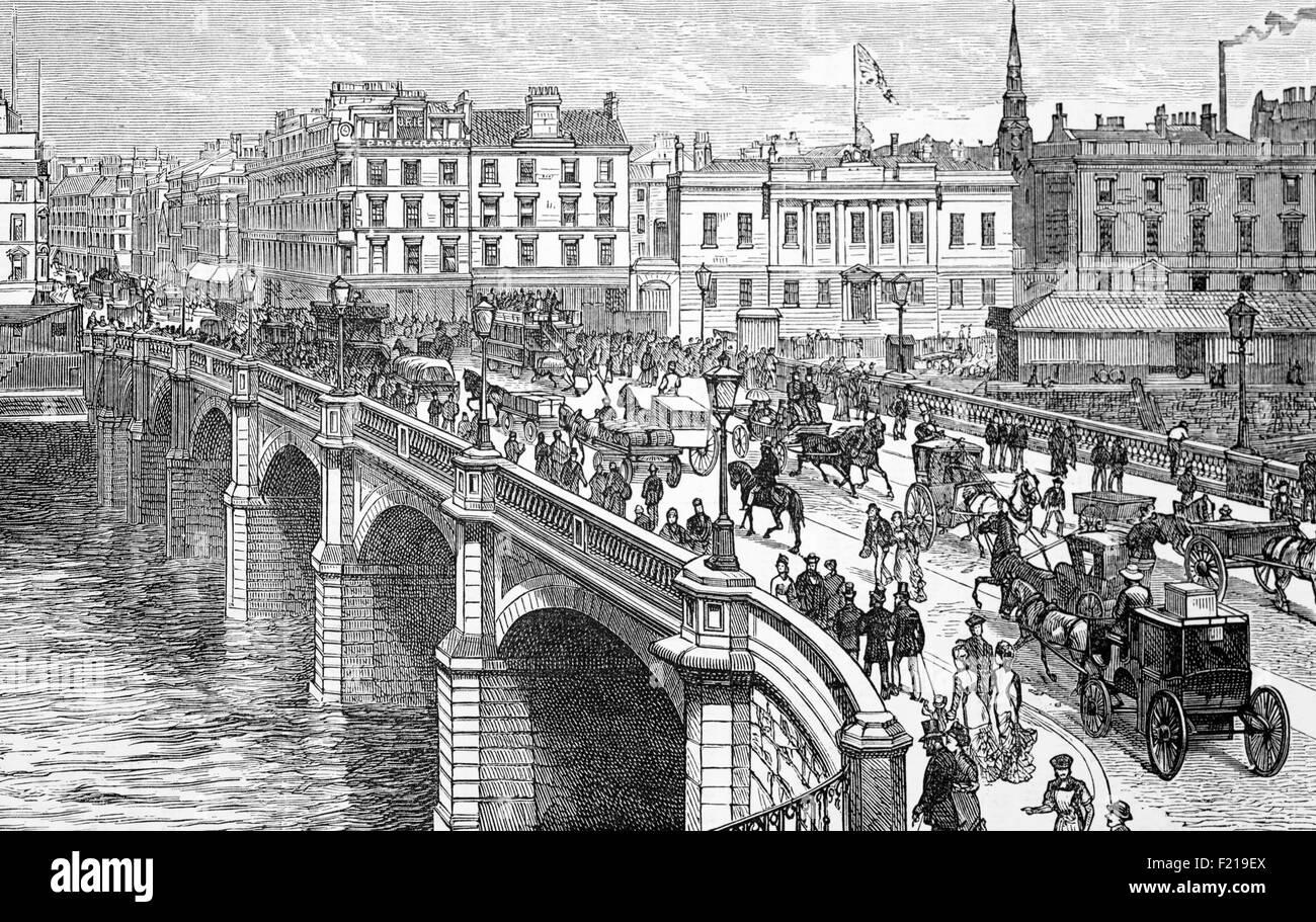 Die ursprüngliche Glasgow-Brücke überspannt den Fluss Clyde und wurde 1772 fertiggestellt und entworfen Stockbild