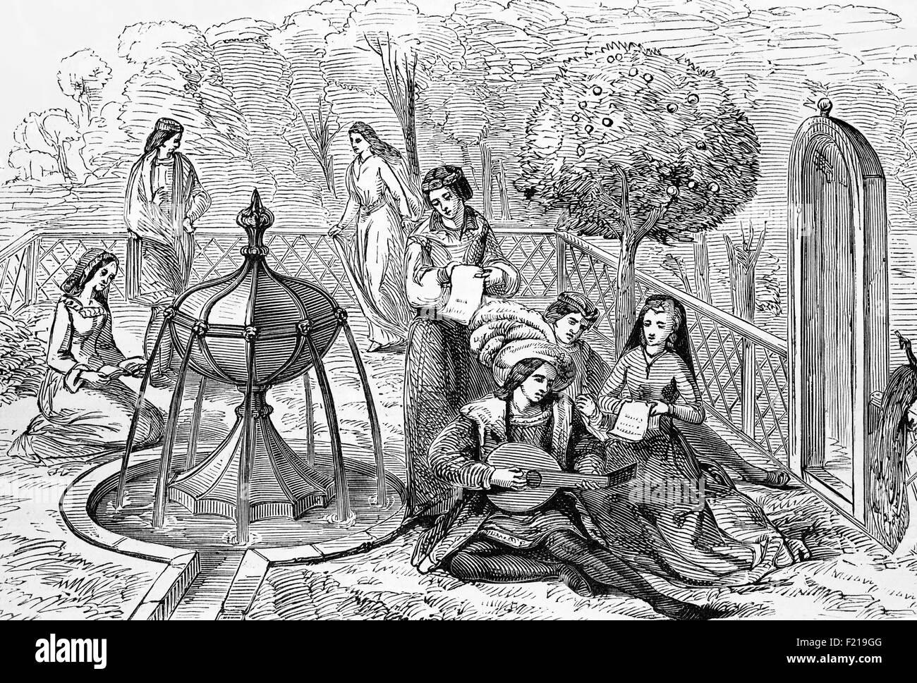 Die Aristokratie amüsant sich im späten 15. Jahrhundert in England Stockbild