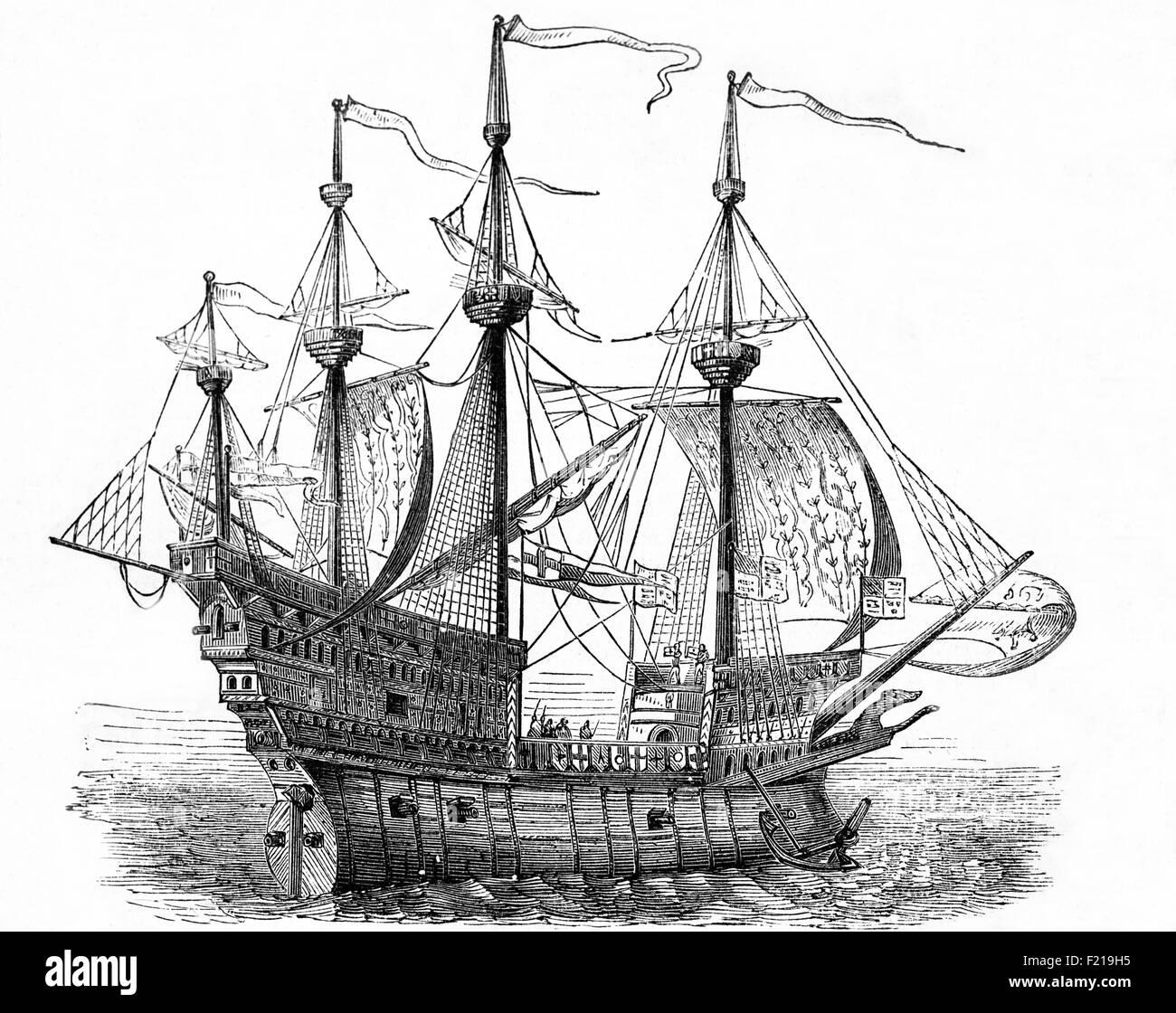 Die Mary Rose ist ein karrackartige Kriegsschiff der englischen Tudor-Marine von König Heinrich VIII. Sie diente 33 Jahre lang in mehreren Kriegen gegen Frankreich, Schottland und die Bretagne. Nach dem substanziellen Wiederaufbau im Jahr 1536, sah sie ihre letzte Aktion am 19. Juli 1545. Sie führte den Angriff auf die Galeeren einer französischen Invasionsflotte an, sank aber im Solent, der Meerenge nördlich der Isle of Wight. Nach einer Originalzeichnung des Künstlers des 16th. Jahrhunderts, Hans Holbein. Stockfoto