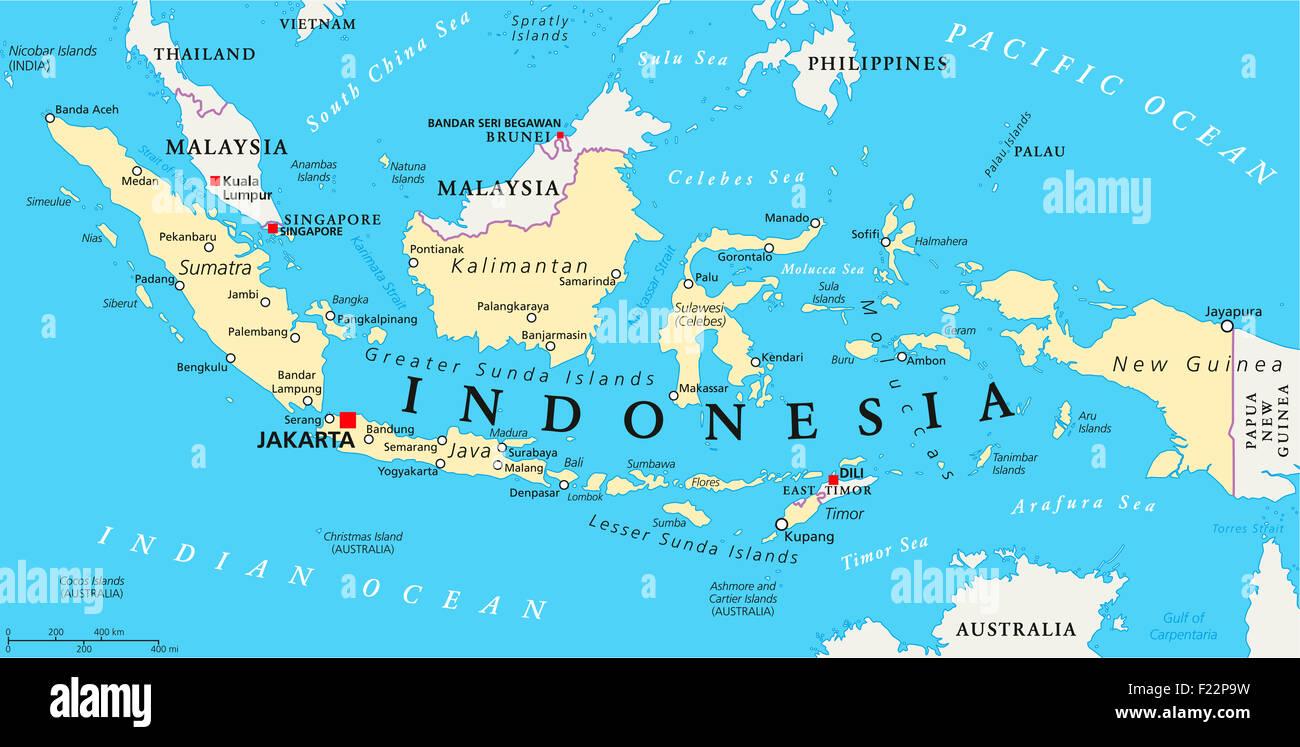 jakarta karte Indonesien politische Karte mit Hauptstadt Jakarta, nationale