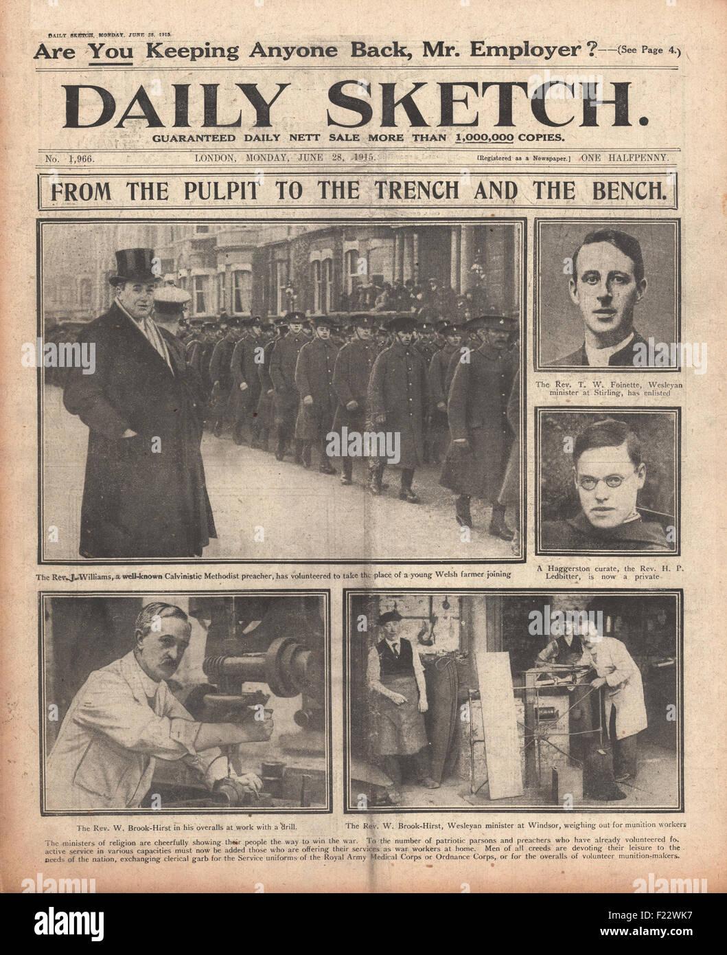 1915 freiwillig Titelseite Daily Sketch Kirche Minister für Krieg ...