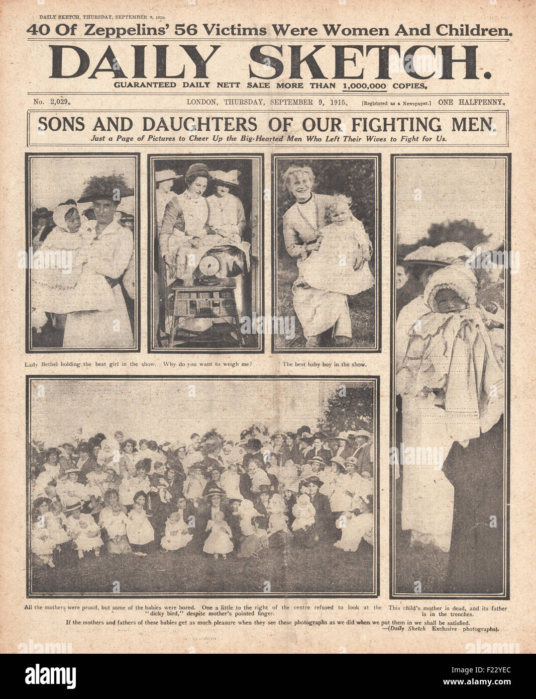 1915-Front Seite Daily Sketch Servicemens Ehefrauen und Kinder ...