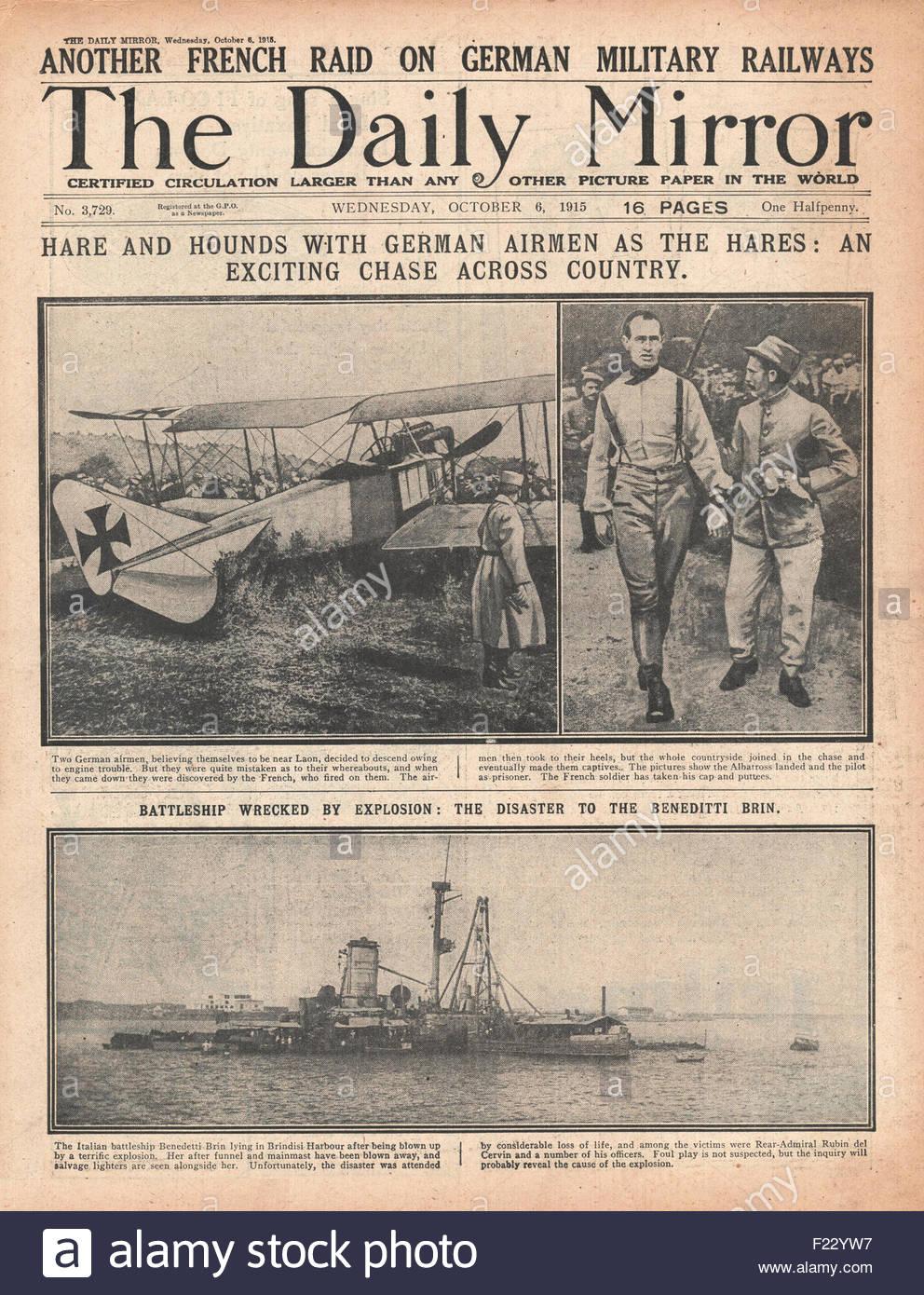 1915 Titelseite Daily Mirror britische und französische Truppen außerhalb Saloniki und italienische Schlachtschiff Stockbild
