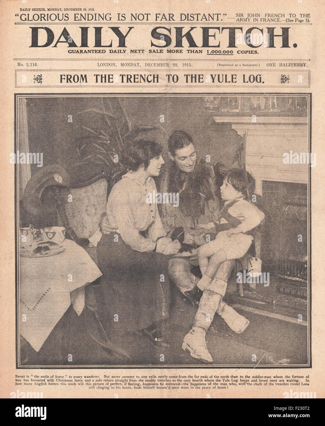 1915-Titelseite Daily Sketch Soldat zu Hause auf Weihnachten ...
