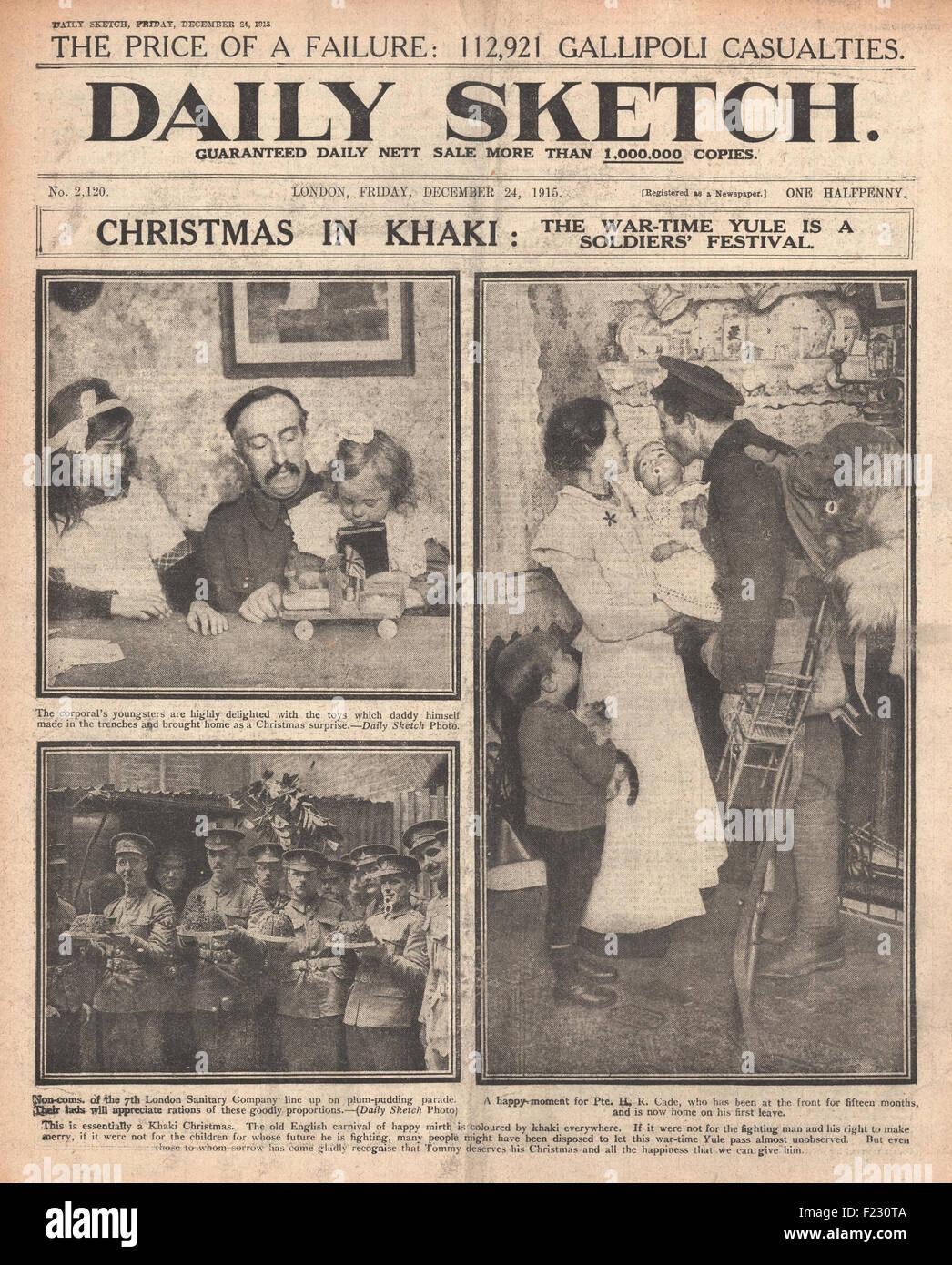 1915 Titelseite Daily Sketch britische Soldaten nach Hause für ...