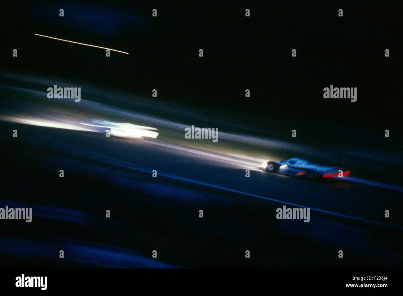 Porsche 956 Nachtrennen Le Mans der 1980er Jahre Stockbild