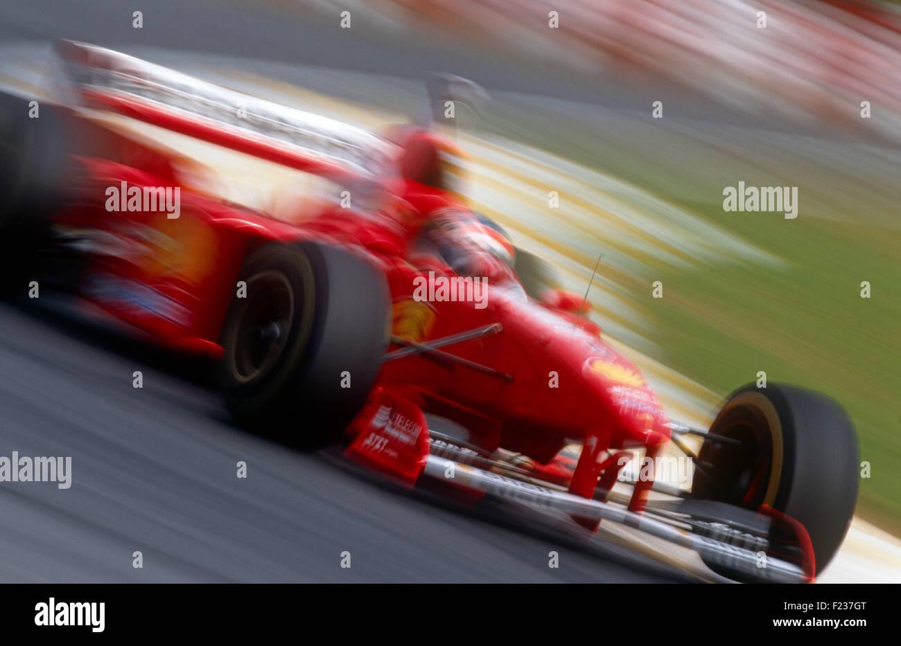 Michael Schumacher im Ferrari der 1990er Jahre Stockbild
