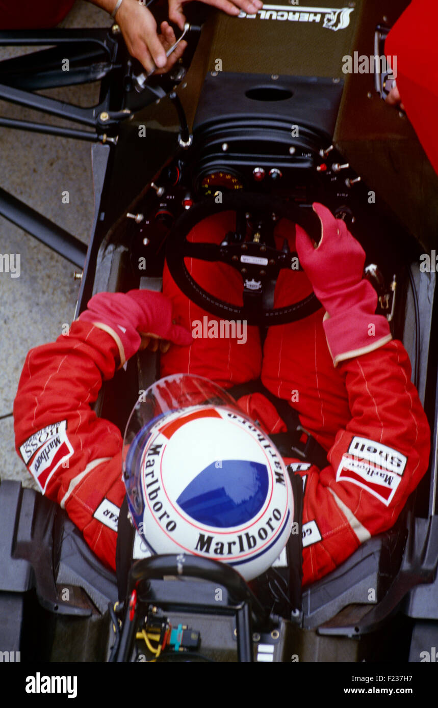 Alain Prost in einem Marlboro-McLaren 1980er Jahre Stockbild