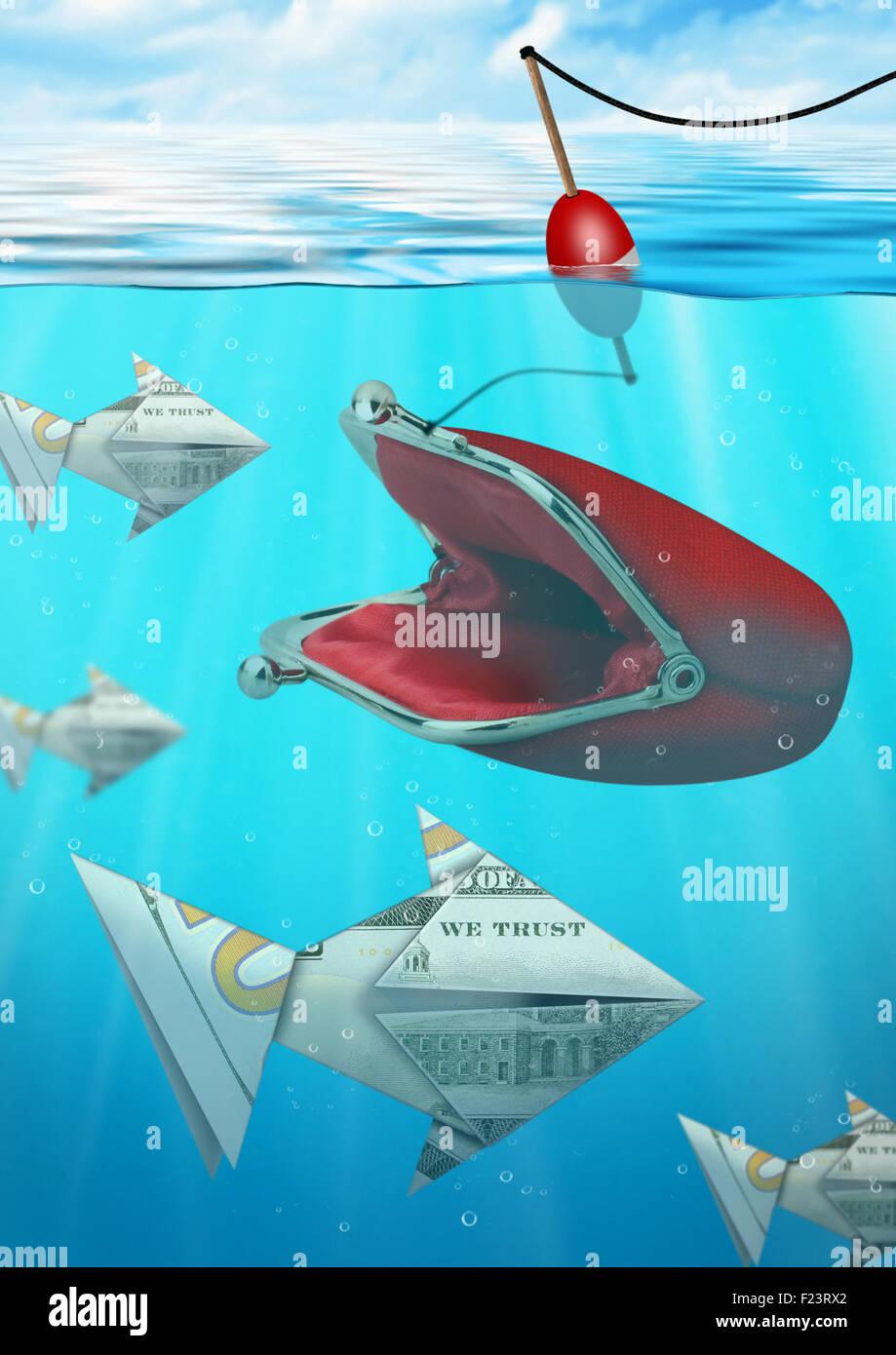 Kreative Geschäftsidee Geld Fischfang mit Geldbörse Stockbild