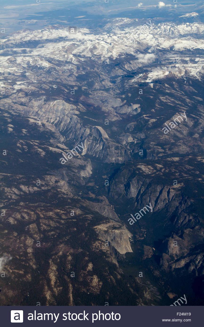 Luftaufnahme des Yosemite Valley und Yosemite-Nationalpark in Kalifornien Stockbild
