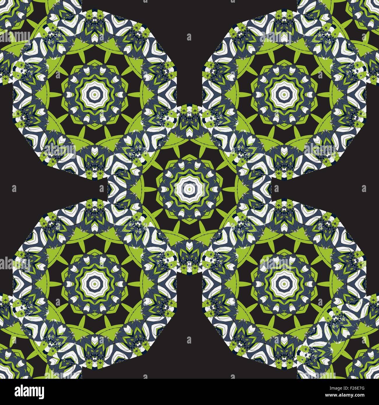 Nahtlose Runde Tapete Mandala Grün. Runde Rahmen Mandala. Kreisförmige  Ornamentales Muster. Vintage Deko Elemente. Handgezeichnete Hintergrund.