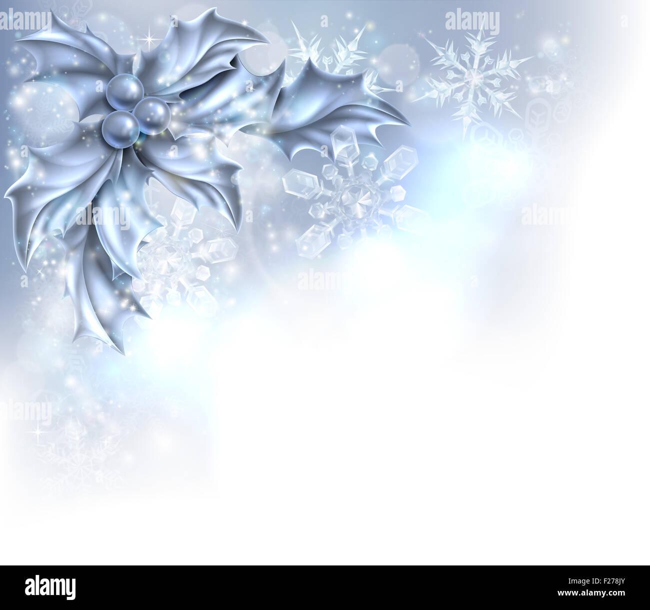 Christmas Holly Silber abstrakt Weihnachten Ecke Rahmenhintergrund ...