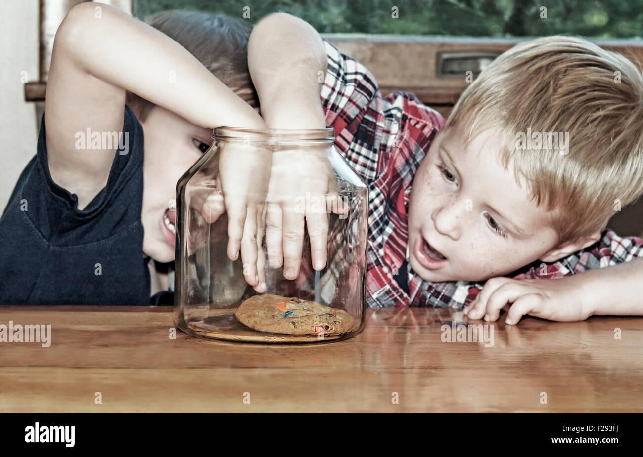Zwei jungen konkurrieren und Reichweite für letzte cookie Stockbild