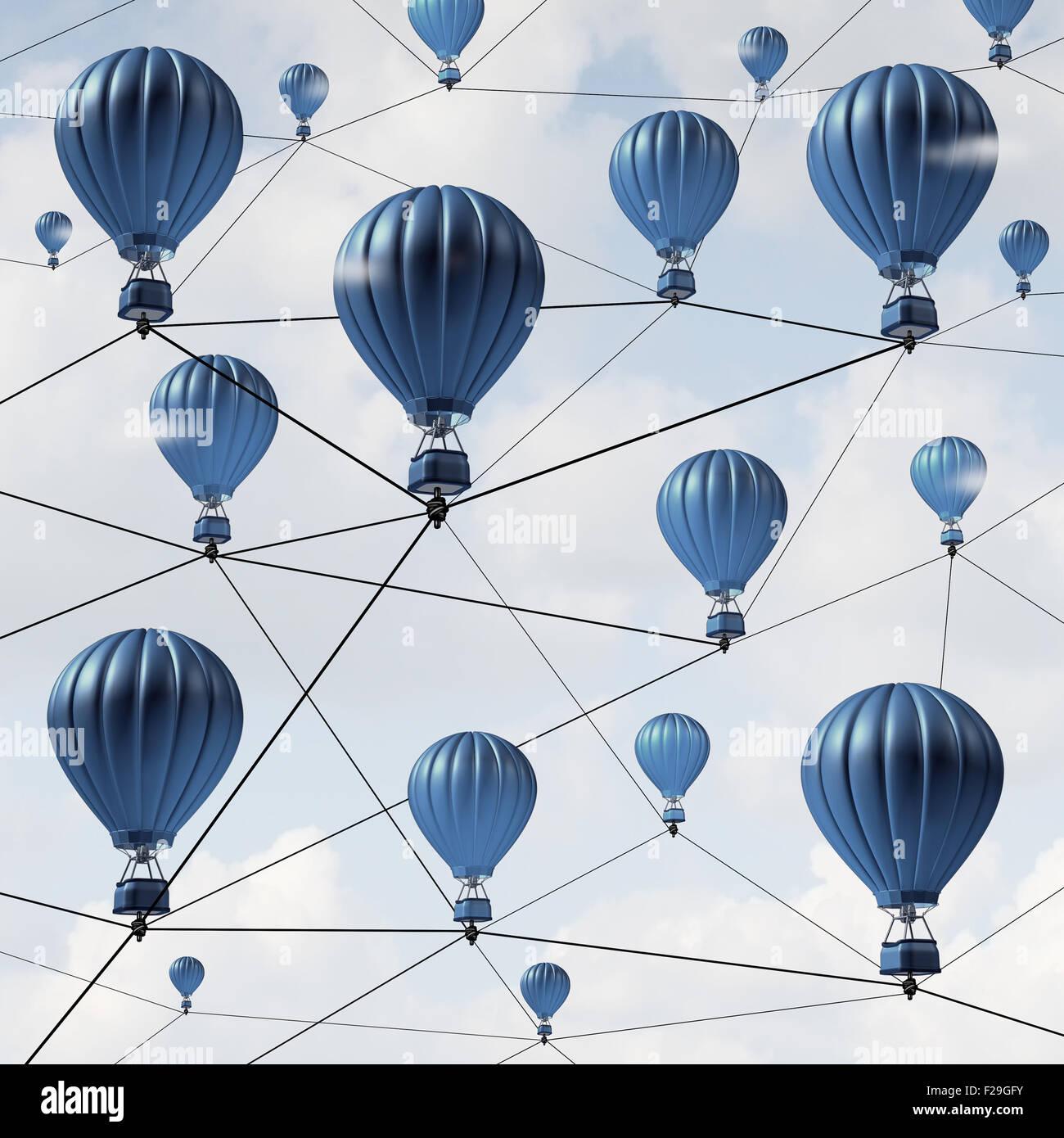 Netzwerkverbindungen Verbindung Erfolg Konzept und Gemeinschaft soziale Medien als eine Gruppe von blauen Heißluftballons Stockfoto