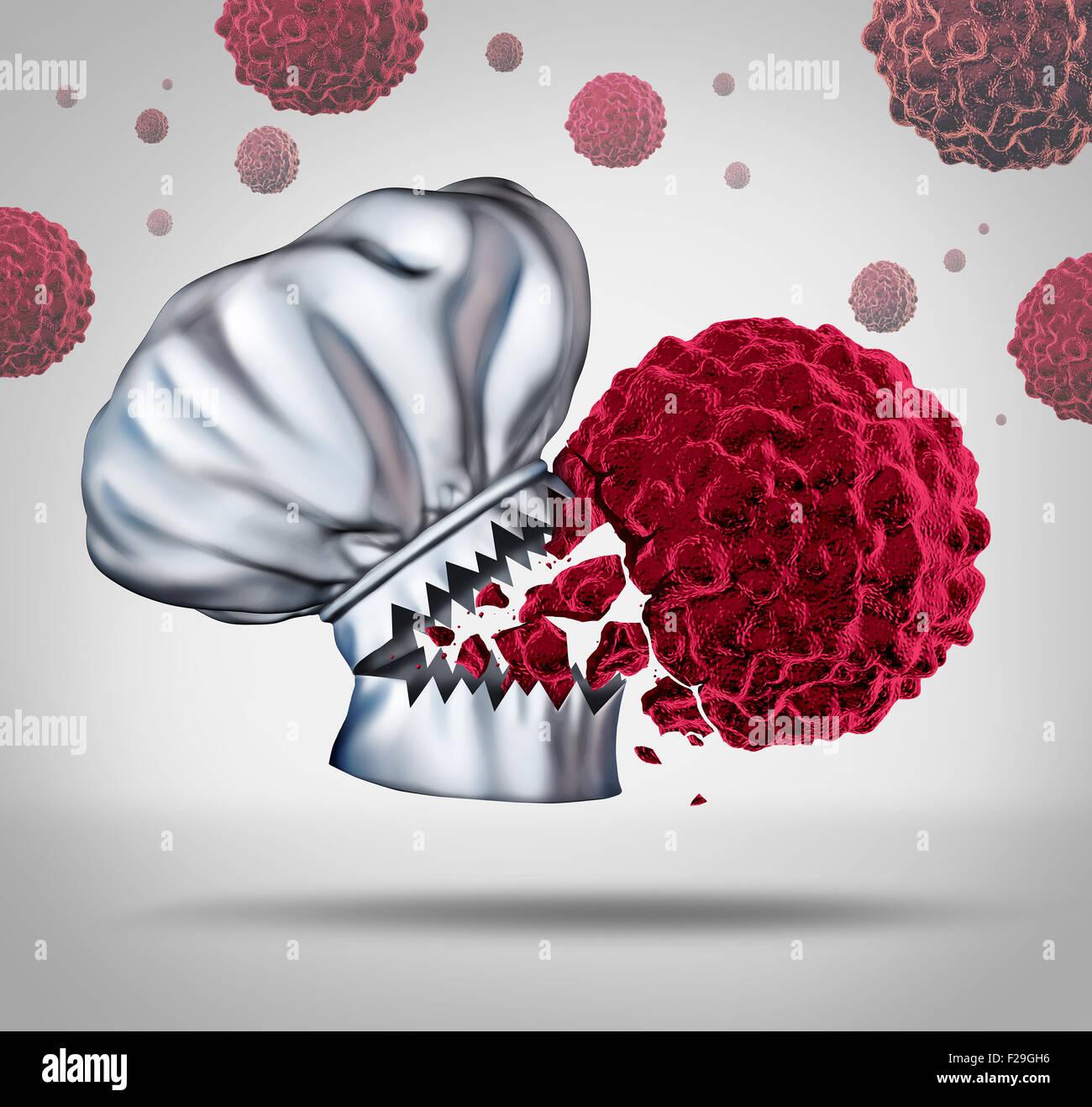 Krebs Ernährung und gesunde und nahrhafte Rezepte als Koch Hut mit offenem Mund und scharfe Zähne beißen Stockbild