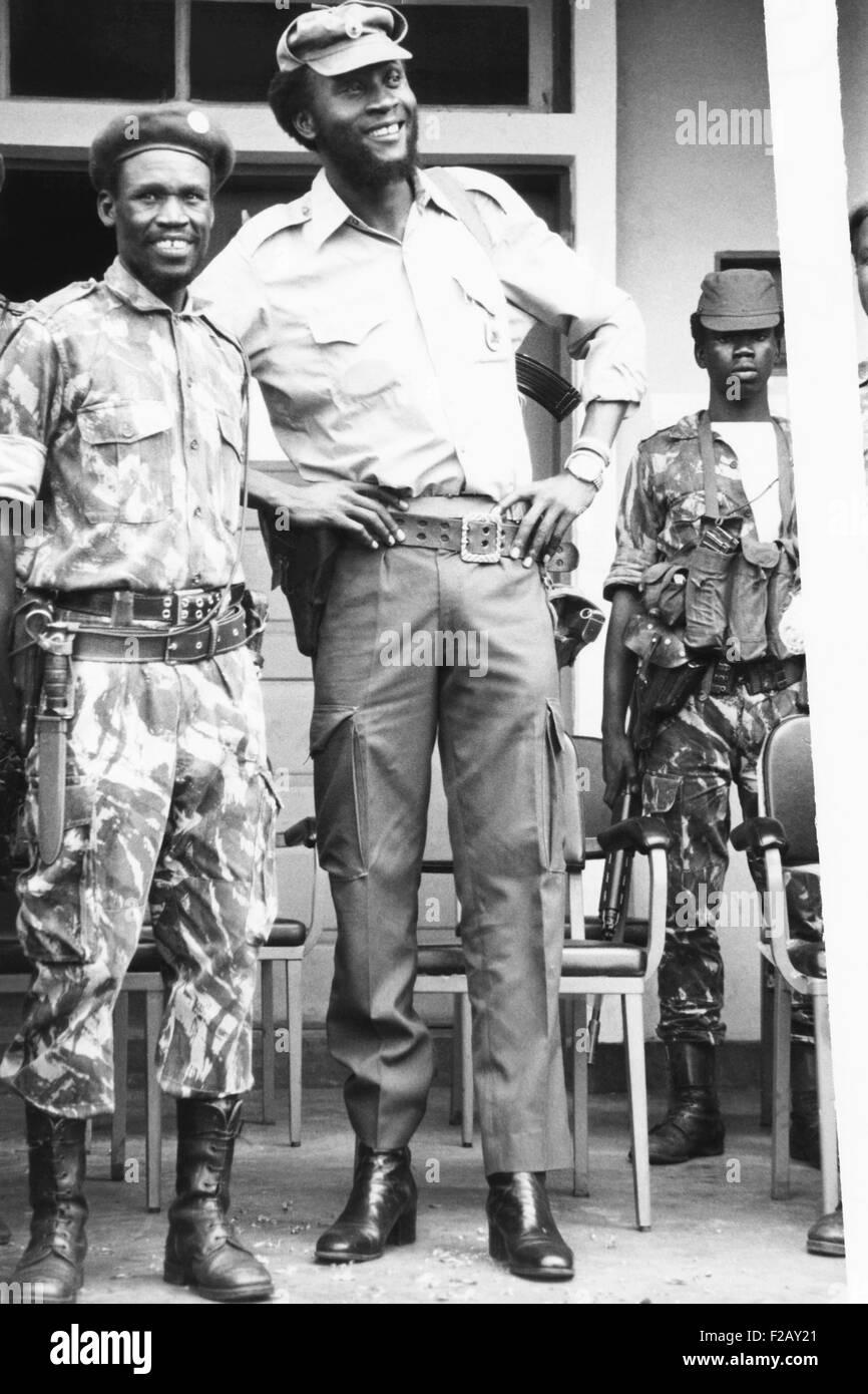 Colonel Samuel Chiwale, Oberbefehlshaber der Streitkräfte der UNITA, Februar 1976. UNITA, nationale Vereinigung Stockbild