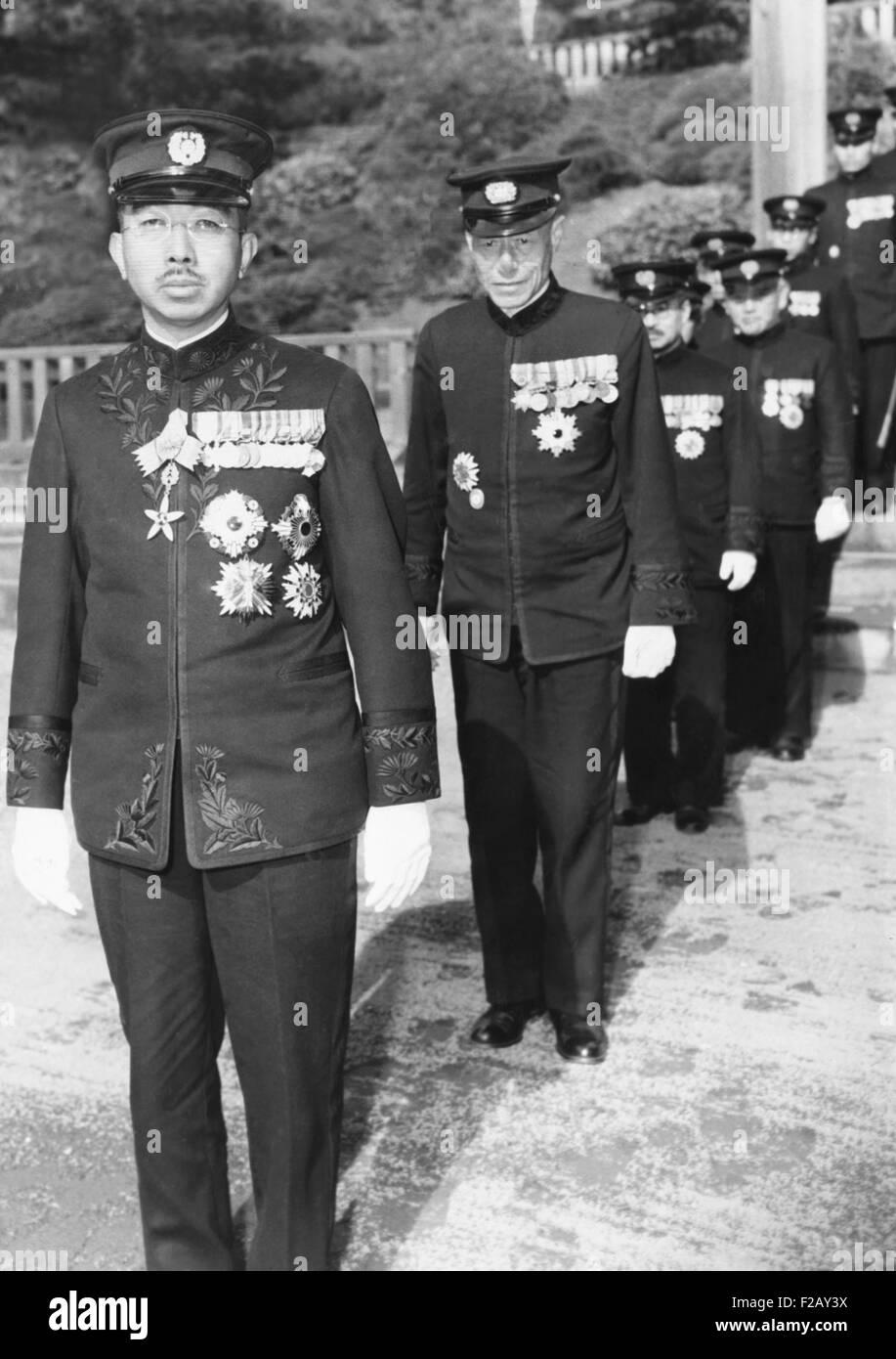 Kaiser Hirohito von Japan, 24. November 1945. Acme News Fotograf, Tom Schaffer, durfte das Foto in einem Abstand Stockfoto