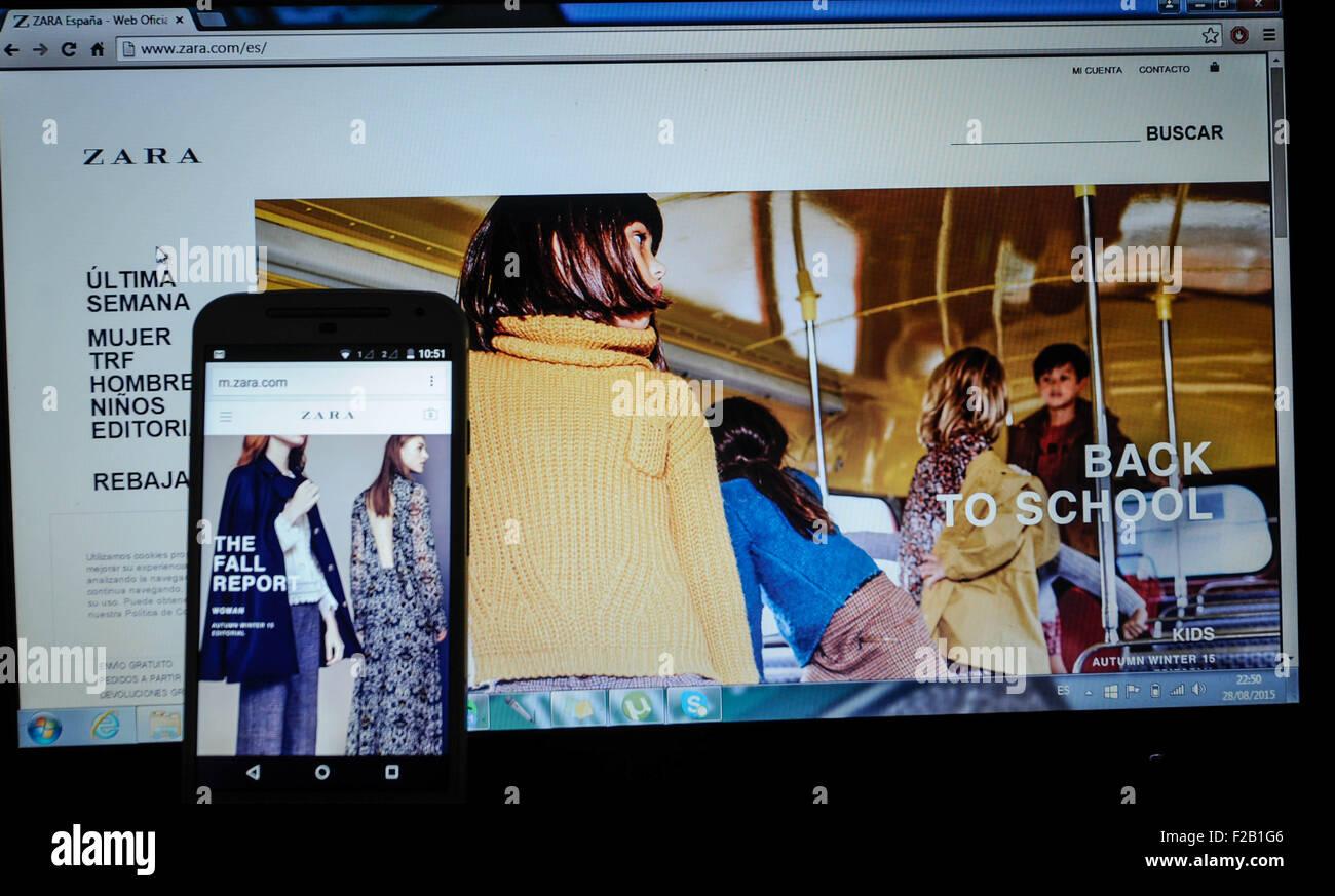 online-shopping-website von kleidung shop zara-página web de