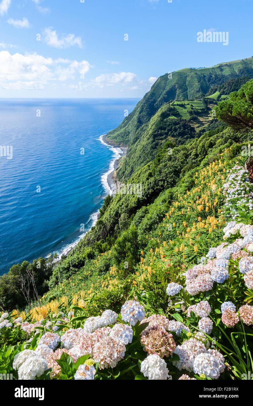 Aussichtspunkt Ponta da Sossego in Sao Miguel, Azoren-Insel Stockbild