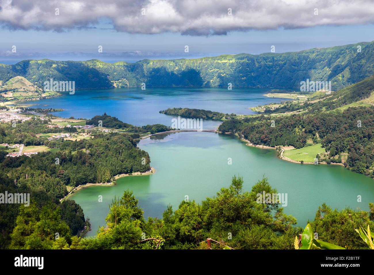 See von Sete Cidades vom Vista Rei Aussichtspunkt in Sao Miguel, Azoren Stockbild