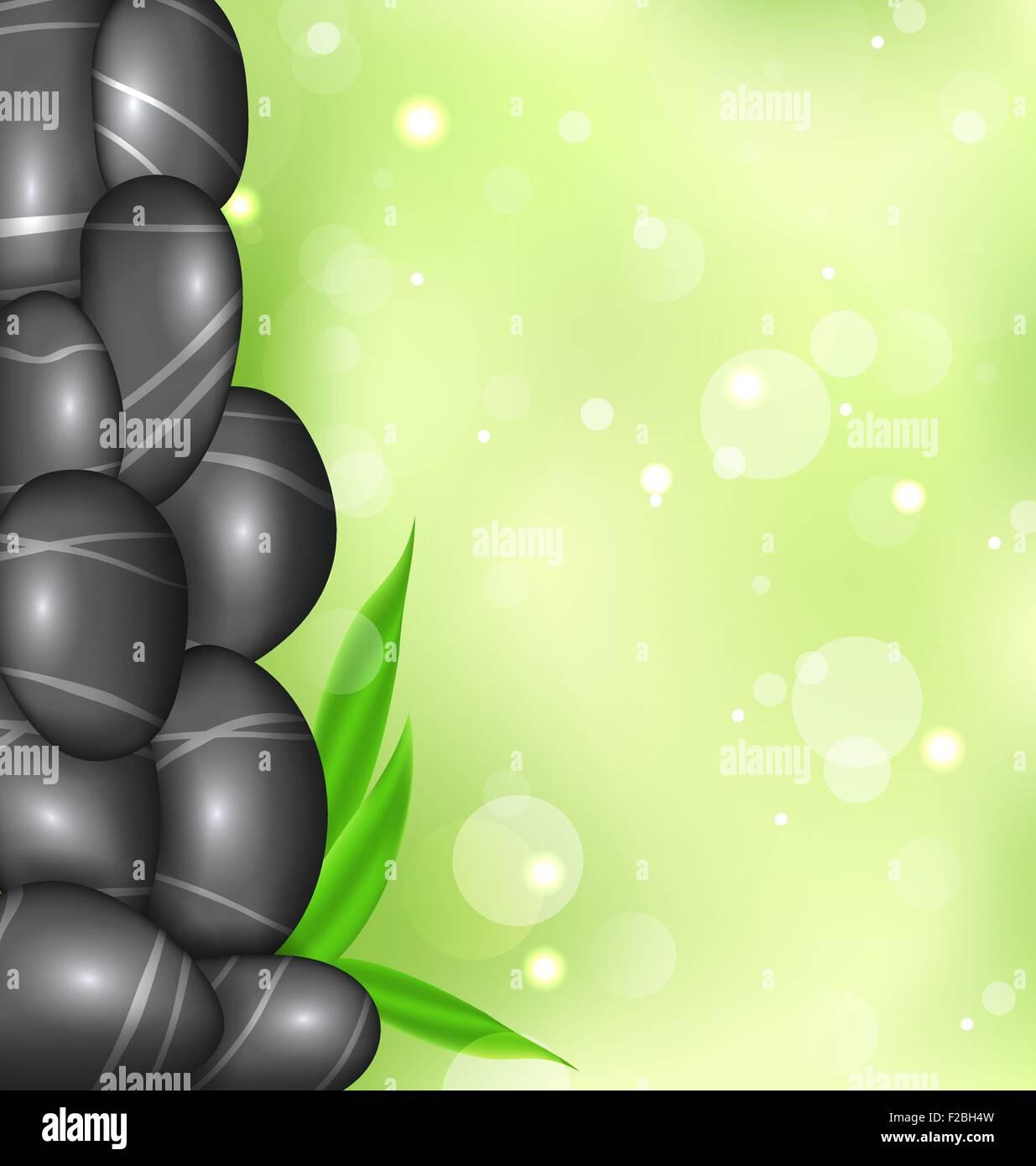 Spa Hintergrund Mit Bambus Blatter Und Steinen Vektor Abbildung