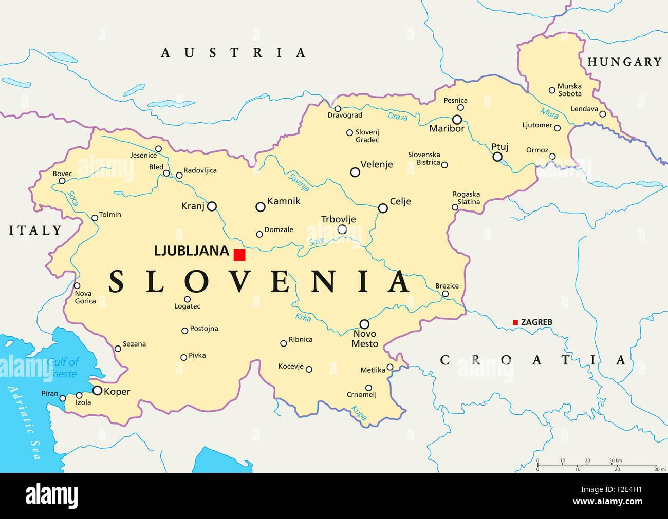 slowenien landkarte mit hauptstadt ljubljana landesgrenzen wichtige st dte fl sse und seen. Black Bedroom Furniture Sets. Home Design Ideas