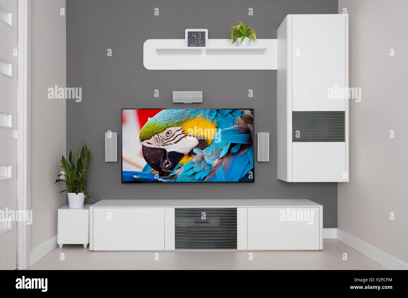 Moderne Wohnzimmer   TV Und Lautsprecher Heimkino.