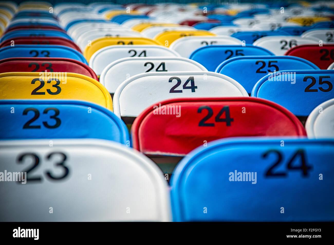 Leere Sitze in einem Stadion, Daytona International Speedway, Daytona Beach, Florida, USA Stockfoto