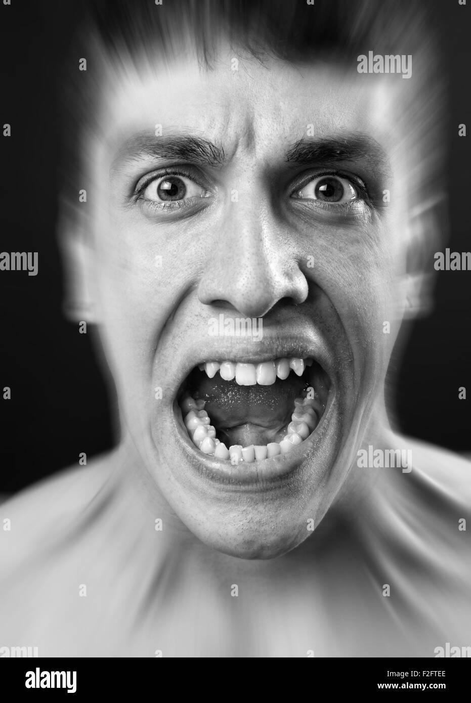 Lauten Schrei der Angst erschrecken jungen Mann Stockbild
