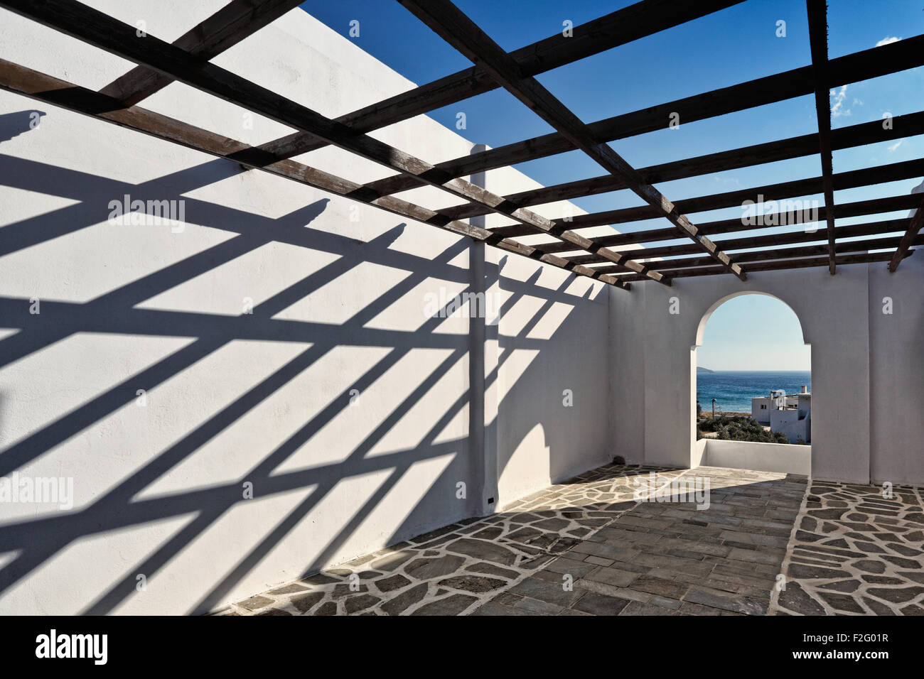 Die traditionelle Architektur von Andros, Griechenland Stockbild