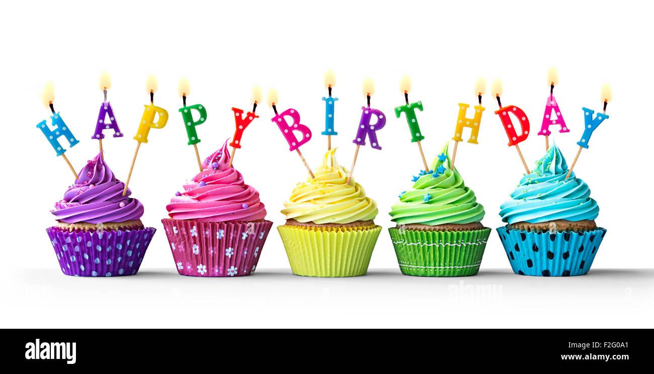 Reihe Von Bunten Geburtstag Cupcakes Isoliert Auf Weissem Hintergrund