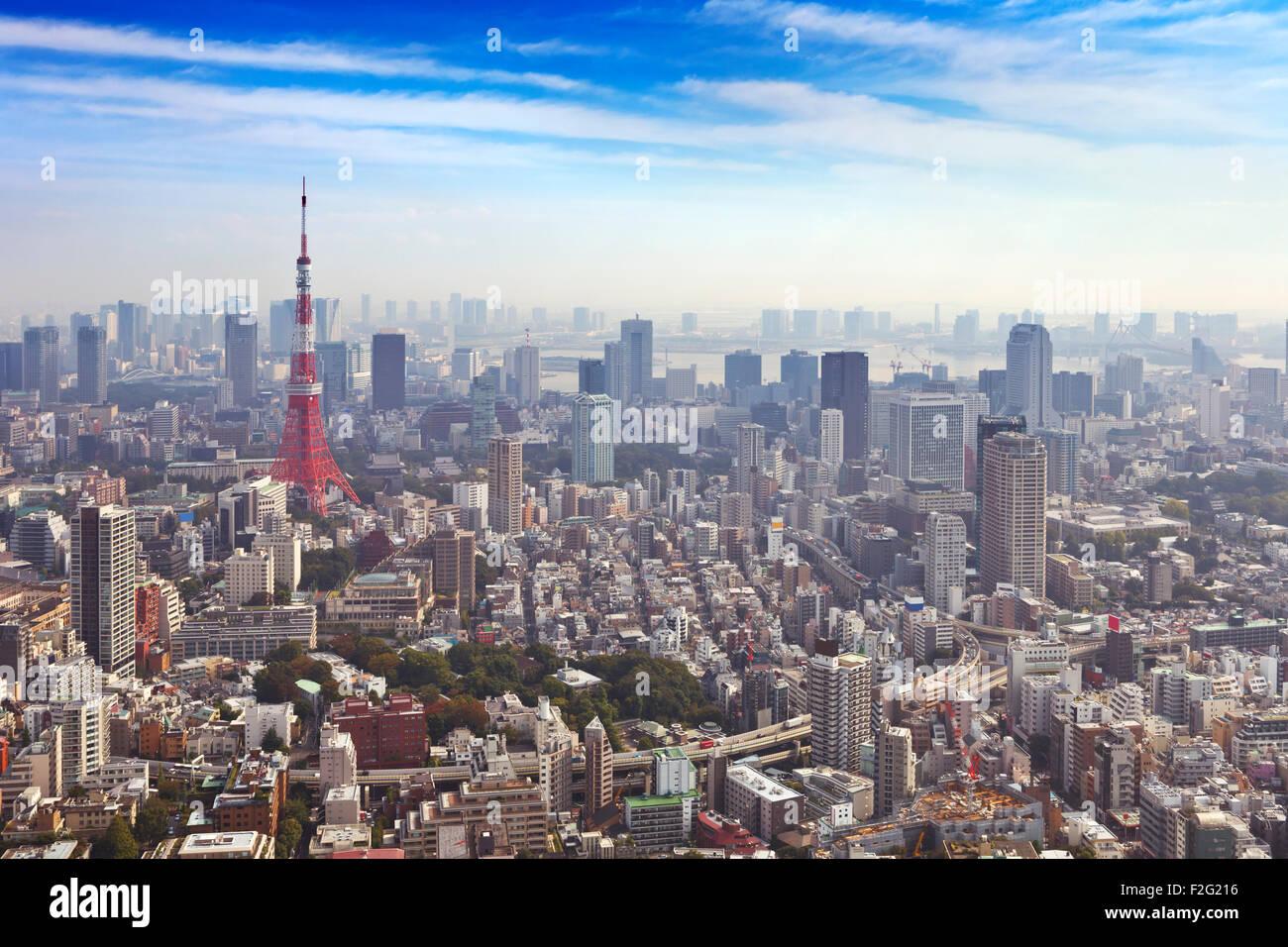 Die Skyline von Tokyo, Japan mit dem Tokyo Tower von oben fotografiert. Stockbild