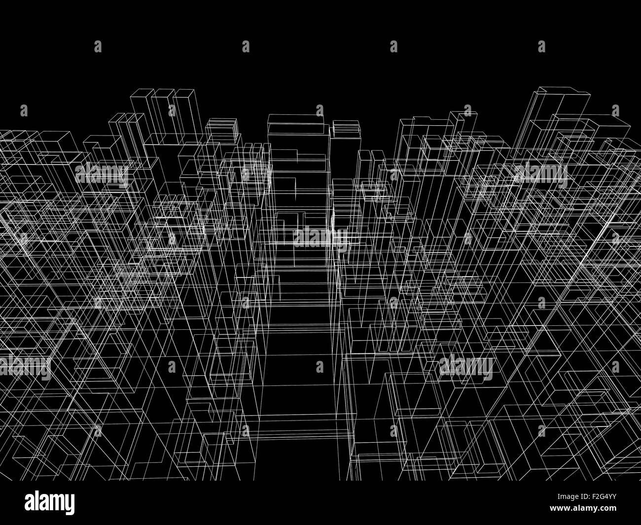 digitalen hintergrund mit kubischen 3d struktur wei e drahtrahmen linien auf schwarzem. Black Bedroom Furniture Sets. Home Design Ideas